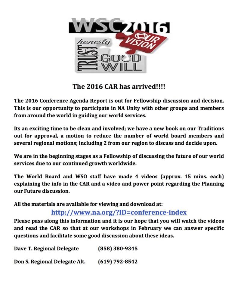 2016 CAR Info